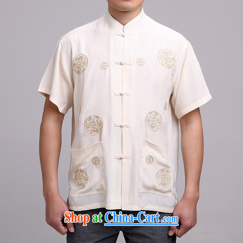Kim Ho-the new summer China wind short-sleeved loose Tang in older men Chinese circle embroidered pattern shirt jacket Tibetan blue 39 _beige 42_