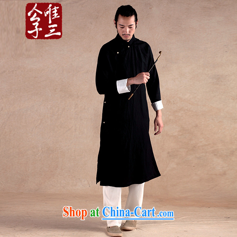 Only 3 Chinese wind-up speaker cultivating flax cotton the Chinese jacket national costumes male spring ethnic wind Tang with black-seok (XXL)
