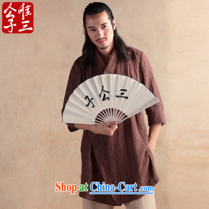 Only 3 Chinese wind sensation of the linen cotton shirt Yau Ma Tei Tong 7 short-sleeved T-shirt ethnic Chinese Han-chun tea-color-seok _XXL_