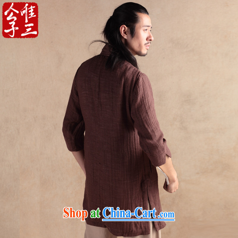 Only 3 Chinese wind sensation of the linen cotton shirt Yau Ma Tei Tong 7 short-sleeved T-shirt ethnic Chinese Han-chun tea-color-seok (XXL), only 3, on-line shopping
