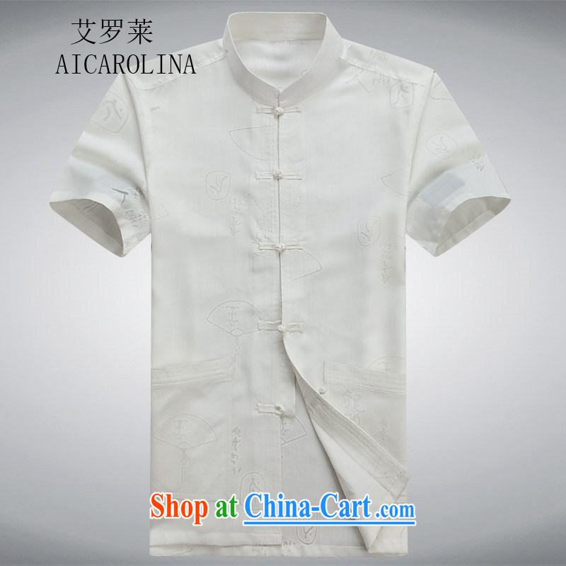 The Luo in older Chinese men's summer short-sleeve T-shirt large, retro-tie men's Tang is a short-sleeved, white collar 190_XXXL