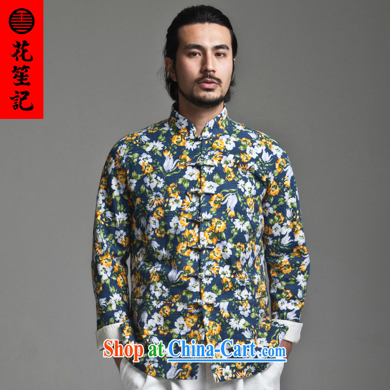 His Excellency took the wind in Dili Mong flowers Chinese men's beauty, for Chinese long-sleeved jacket is withholding cotton spring blue spend 180/92 A