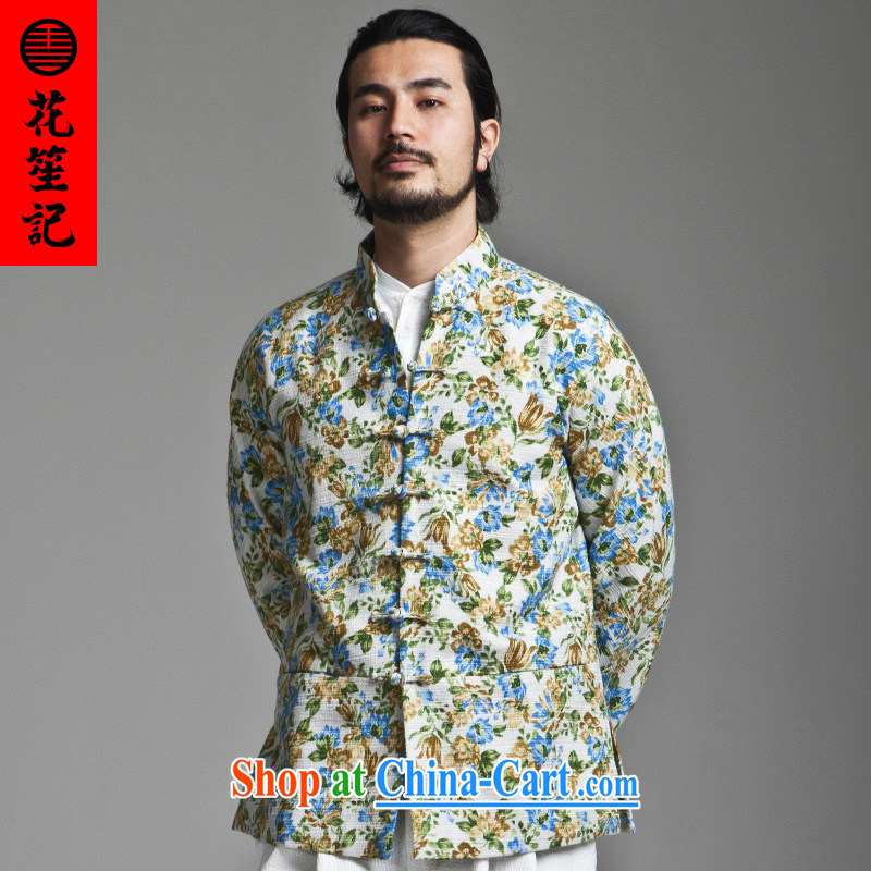 His Excellency took the wind in Dili Mong flowers Chinese men's beauty, for long-sleeved Chinese jacket-tie cotton spring blue spend 180/92 A, take note his Excellency (HUSENJI), online shopping