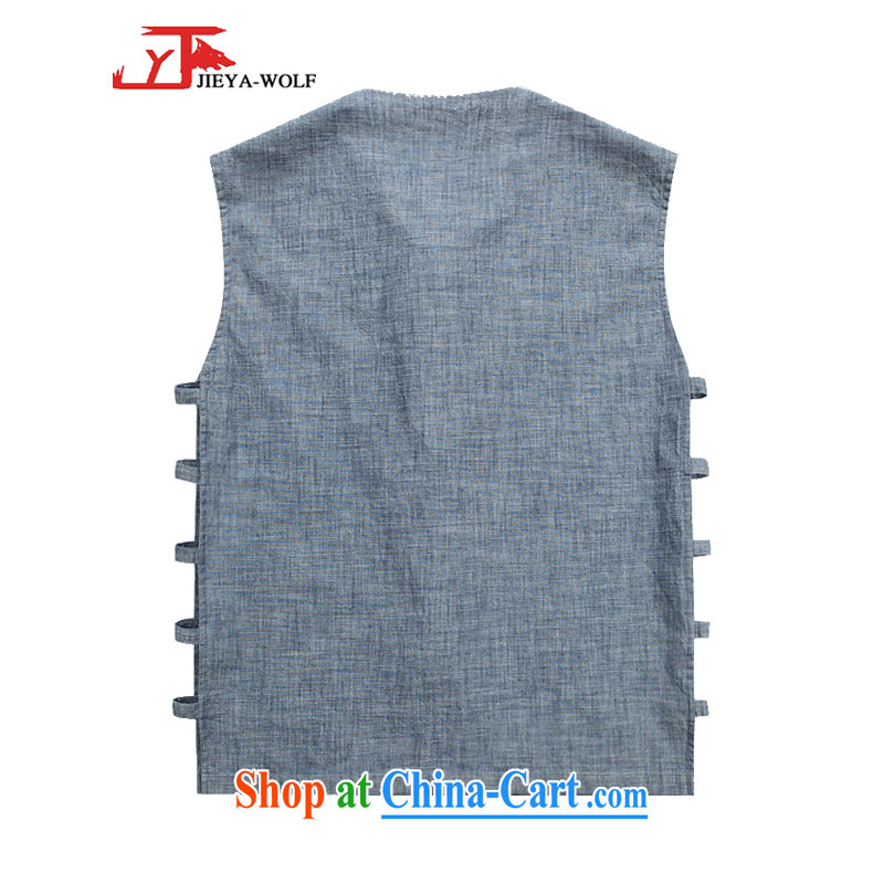 Jack And Jacob - Wolf JIEYA - WOLF New Tang replace short-sleeve men's vest vest summer, advanced solid-colored fabrics and stylish casual men's denim Blue solid color 185/XXL, JIEYA - WOLF, shopping on the Internet