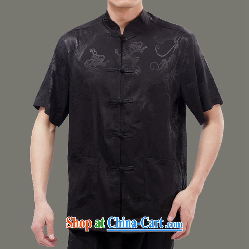 Burglary to package the old Adam 15 new Chinese men and replacing old life summer, older men emulation, Dragon short-sleeve Tang package black聽165 code package