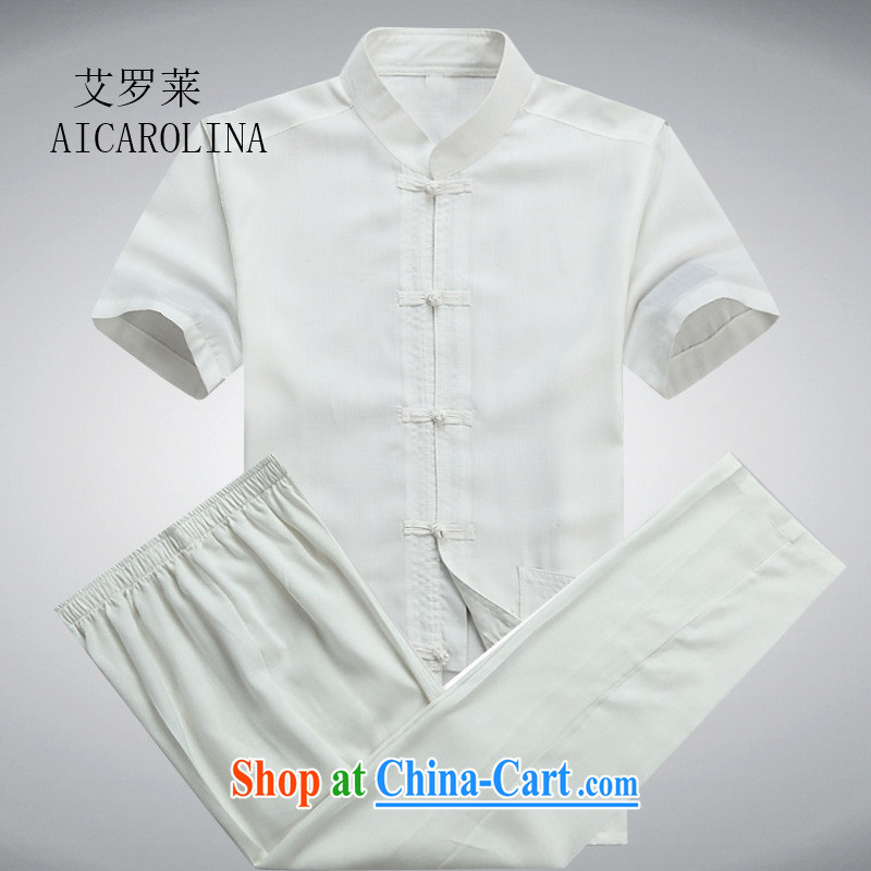 The Carolina boys men Chinese middle-aged and older men and short sleeve with middle-aged father older persons with short T-shirt Chinese male, white package XXXL
