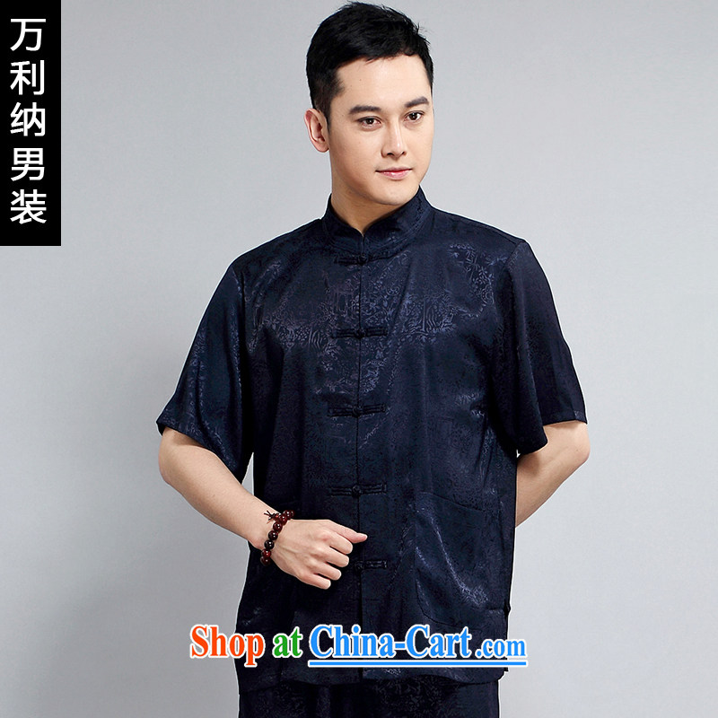 10,000, 2015 new Chinese short-sleeved men's package middle-aged sauna silk embroidery China wind T pension W 1501 blue 190