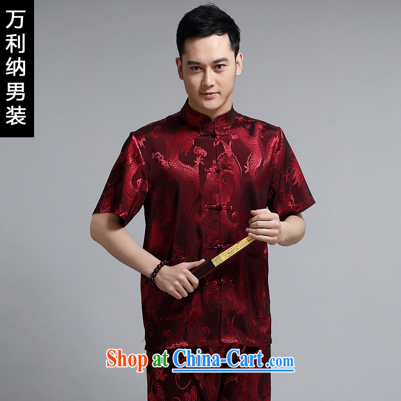 10,000, Chinese short-sleeved T pension package men and 2015 new middle-aged men's Sauna silk China wind short-sleeved shirt T male W 1505 red 190