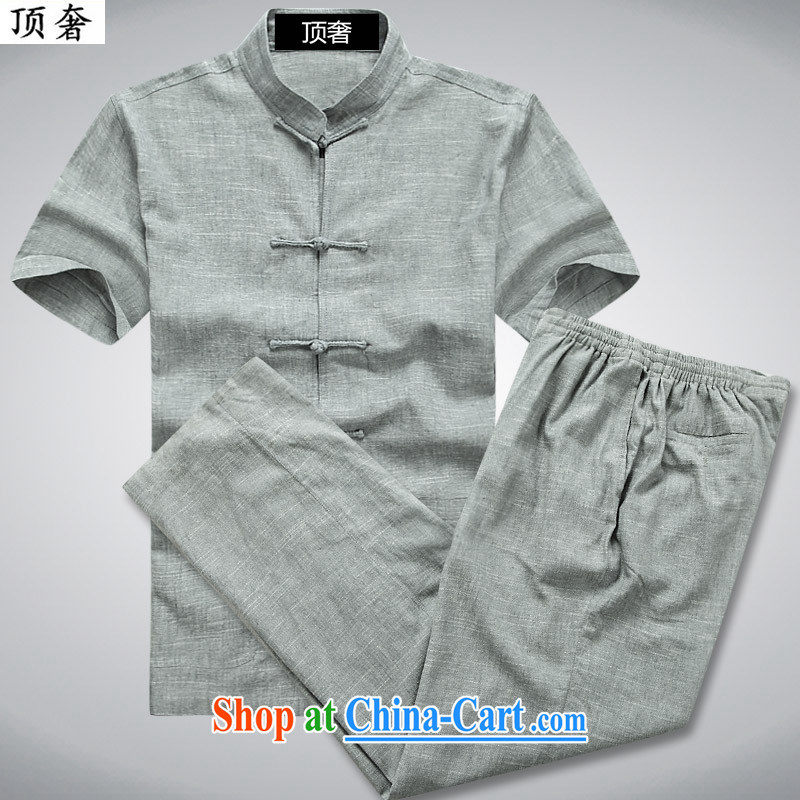 Top Luxury 2015 new summer men's Chinese short sleeve with Han-linen short-sleeve T-shirt, old cotton mA short-sleeve China wind Chinese father with 052 gray Kit 190