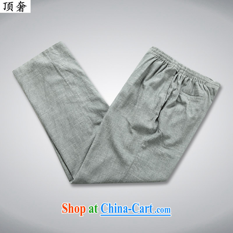 Top Luxury 2015 new summer men Tang is short-sleeved Kit Han-linen short-sleeve T-shirt, old cotton Ma short-sleeved China Chinese father with 052 gray package 180, the top luxury, shopping on the Internet