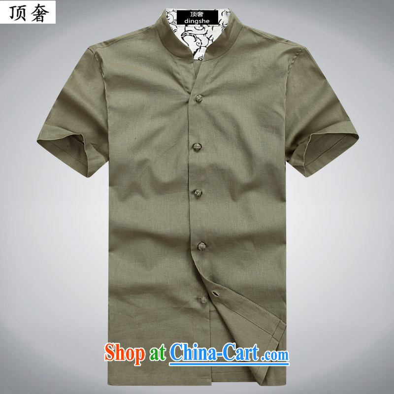 Top Luxury 2015 new, young and middle-aged summer cotton the Chinese men's short-sleeved retro-buckle manually stamp leisure T-shirt campaign national cynosure serving Chinese green 053 190