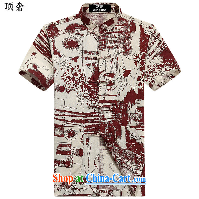 Top Luxury 2015 new Chinese, Chinese collar linen half sleeve T-shirt summer China wind middle-aged and young men's cotton MA, for corn for short-sleeved shirt 6013 190
