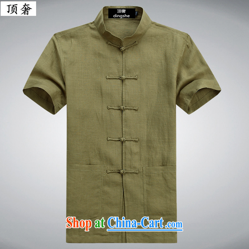 Top Luxury 2015 new, young and middle-aged summer youth leisure men's cotton the Chinese short-sleeved men's linen shirt with dress China wind-tie stylish Chinese T 6007 green 190