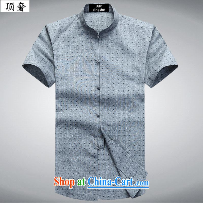 Top Luxury 2015 new, young and middle-aged summer short-sleeved pro-male Chinese shirt China wind linen Chinese leisure and the stamp duty charge-back the collar shirt T 6003 drizzle, 190