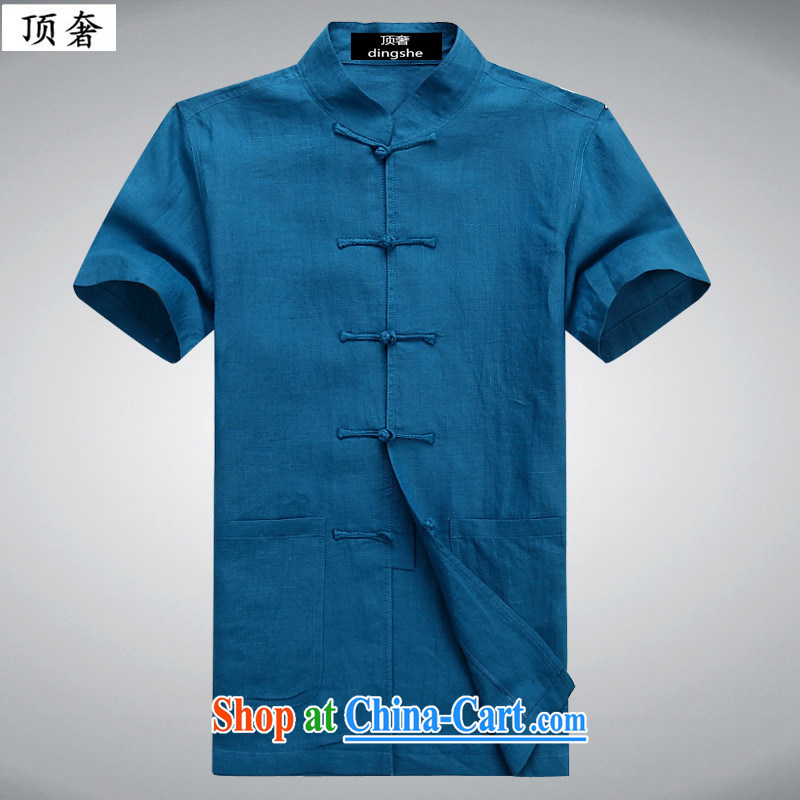 Top luxury Chinese men's half sleeve middle-aged and young summer wear cotton Ma Tang replace loose version short-sleeved retro-buckle manually stamp duty leisure T-shirt campaign Chinese Chinese shirt T blue 6007 190