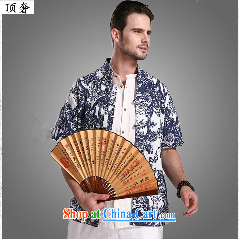 Top Luxury 2015 new Chinese Chinese-buckle up for half-T-shirt T-shirt middle-aged and young summer new Chinese Wind and Cheong Wa Dae, short-sleeved shirt T blossoming 6006 190