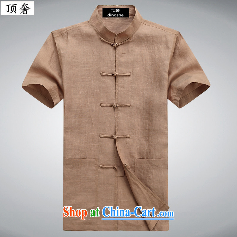 Top Luxury 2015 new Han-chinese Chinese-tie linen short-sleeve and collar shirt and middle-aged summer men's cotton the solid color half sleeve shirt leisure T 6007 brick red 190