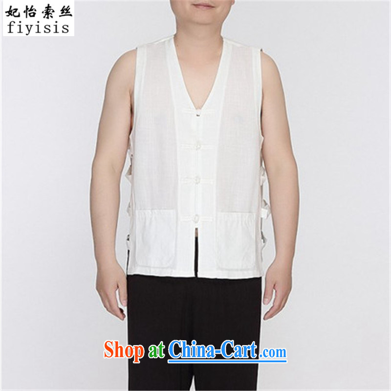 Princess Selina CHOW, silk and cotton in Yau Ma Tei older summer men and a Chinese vest Tang with the shoulder and eschewed the MA folder comfort and breathability sweat Black men Chinese sleeveless shirts white 165