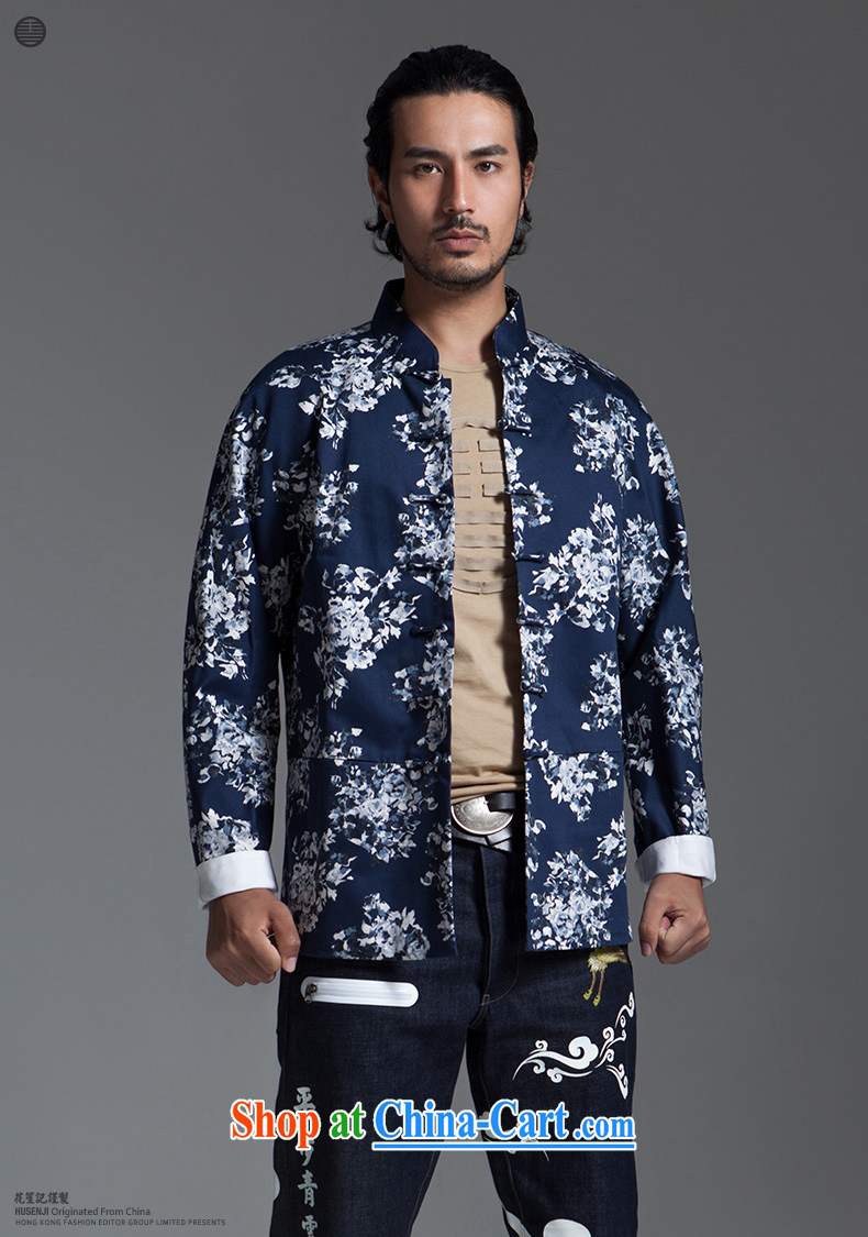 His Excellency took the wind in Dili Mong flowers Chinese men and taxi stand collar long-sleeved cultivating Chinese jacket men's cotton stylish blue XL pictures, price, brand platters! Elections are good character, the national distribution, so why buy now enjoy more preferential! Health