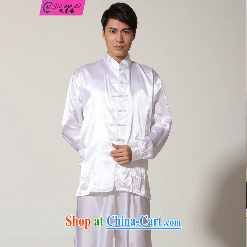 Ko Yo vines into exciting and 2015 New Men's Tang is a solid color kit damask Chinese Two-piece with the Tai Chi Kit Tang replace the collar long-sleeved T-shirt kung fu 0048 M M XXL 0048
