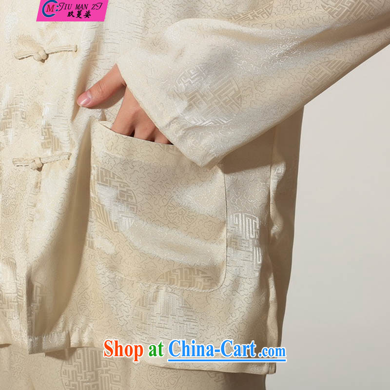 Ko Yo vines into colorful 2015 New Men Tang is a solid color kit tang on the collar long-sleeved T-shirt kung fu set damask Chinese leisure and Tai Chi uniforms M M 0049 0049 - B XXL, capital city sprawl, shopping on the Internet