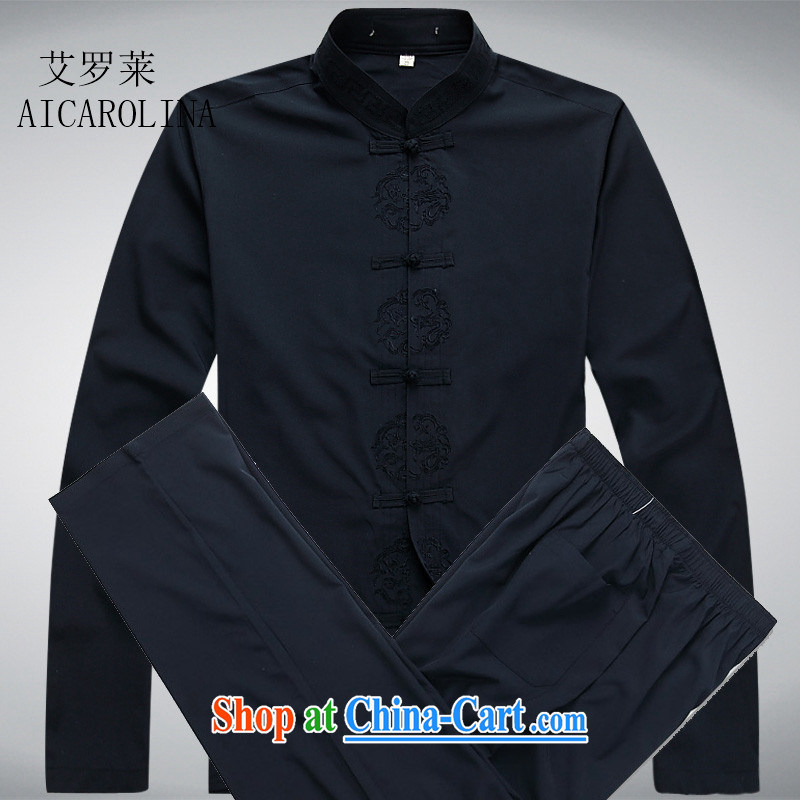 The Luo, middle-aged men's Tang is set long-sleeved middle-aged and elderly father with Tang replace Nepal fall service replacing men Tang with dark blue Kit XXXL, the Carolina boys (AICAROLINA), online shopping