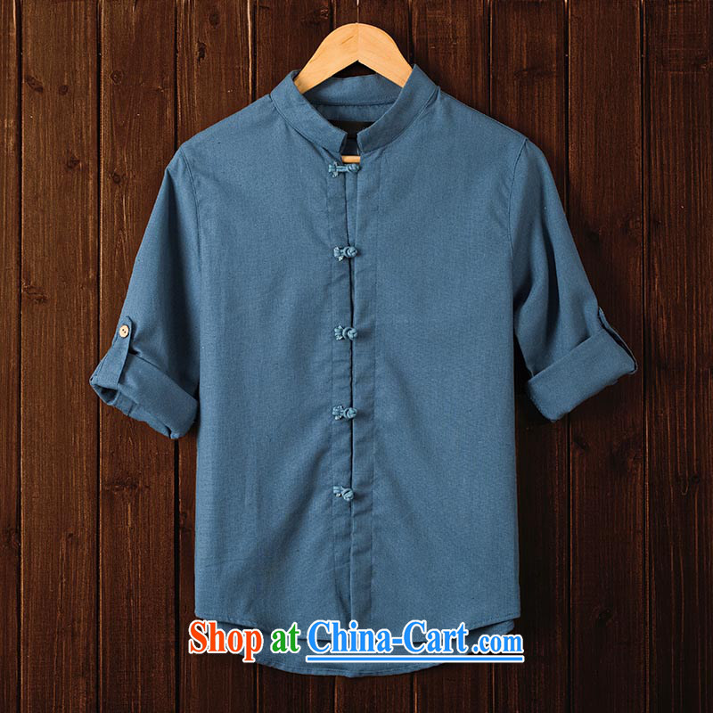 Extreme first autumn 2015 men's Chinese shirt China wind culture T-shirt 7 sub-sleeved shirts cuff in linen and the fat shirt Peacock Blue XXL