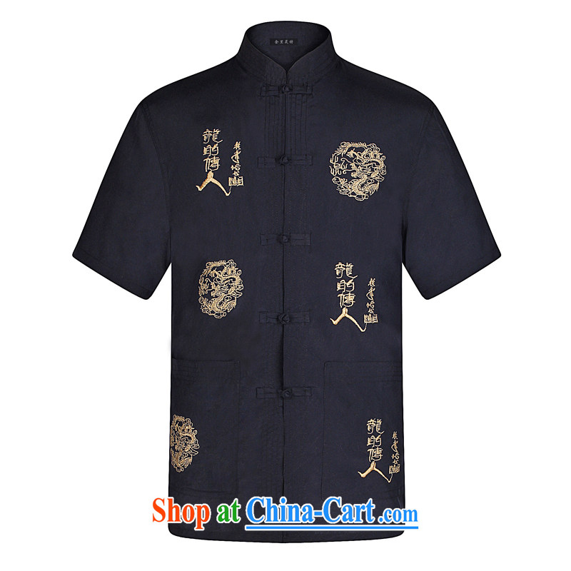 Kim Ho-jung in the summer cotton middle-aged and older men's short-sleeved Chinese hand-tie Chinese men and shirt retro China wind of the Dragon Chinese father with navy 40 Navy 43