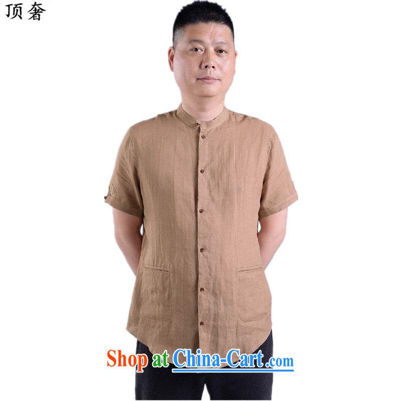 Top Luxury 2015 new summer men's Tang is a short sleeve with Han-linen short-sleeve T-shirt, Old China wind cotton Ma short-sleeved Chinese father card color 175