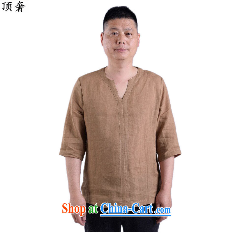 Top Luxury 2015 new short-sleeved Chinese T-shirt V for men and elderly people in China wind men's casual summer Chinese clothing elderly ethnic wind cotton the card color 190