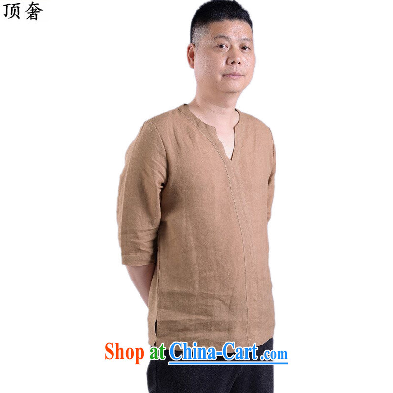 Top Luxury 2015 new short-sleeved Chinese T-shirt V for men and elderly people in China wind men's casual summer Chinese clothing elderly ethnic wind cotton the card color 190 and the top extravagance, and shopping on the Internet
