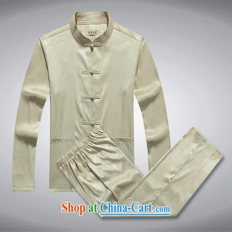 Ming emperor, men's summer long-sleeved Chinese elderly in father with long-sleeved Chinese shirt hand-tie China wind men's 1000 Jubilee Hall beige 190