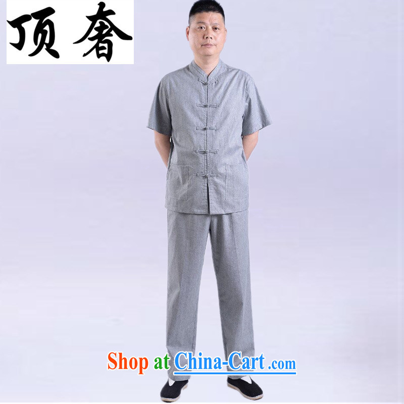 Top Luxury men Chinese men and a short-sleeved Chinese Kit spring and summer older persons in Kung Fu uniforms linens jogging service China wind-tie gray Han-short-sleeve kit gray, Kit 180