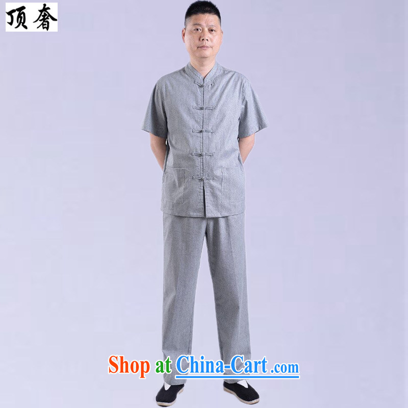 Top luxury Chinese 2015 new high quality traditional middle-aged men advanced money-wrinkled linen Chinese men and a short-sleeved Chinese men's casual shirt, Summer Package gray Kit 185