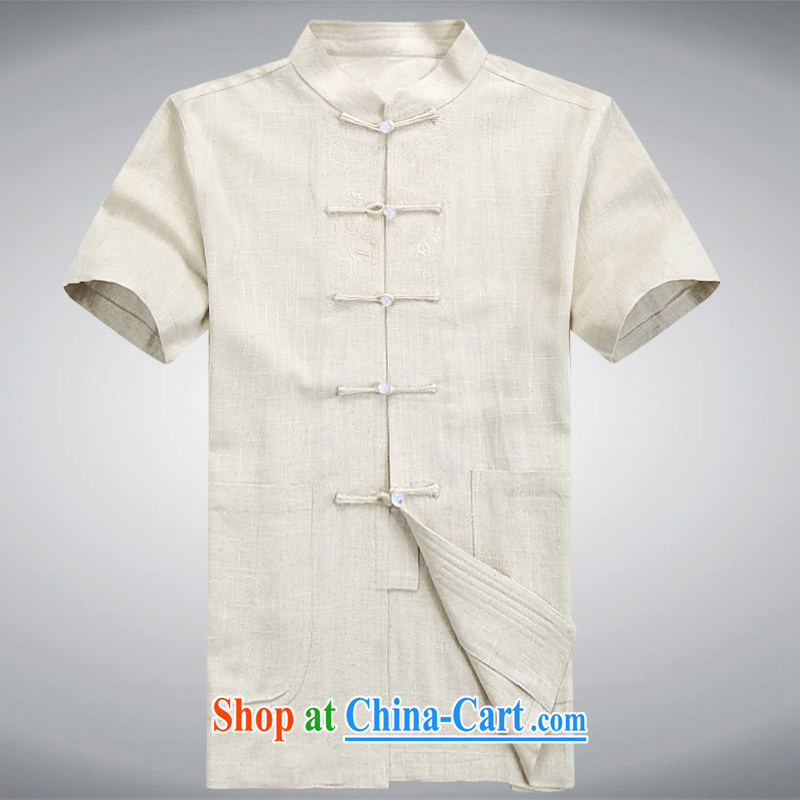 new, genuine ethnic wind in the commission package men's cotton mA short-sleeve kit, older men's summer Chinese, for manually-tie half sleeve the father Tang with beige XXXL_190