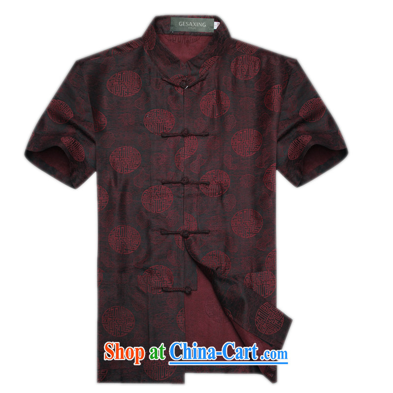 New Summer Scent cloud yarn silk middle-aged and older Chinese short-sleeved men's national dress casual shirts men's Chinese Han-auspicious 1000 Jubilee 1000 Jubilee red XXXL_190