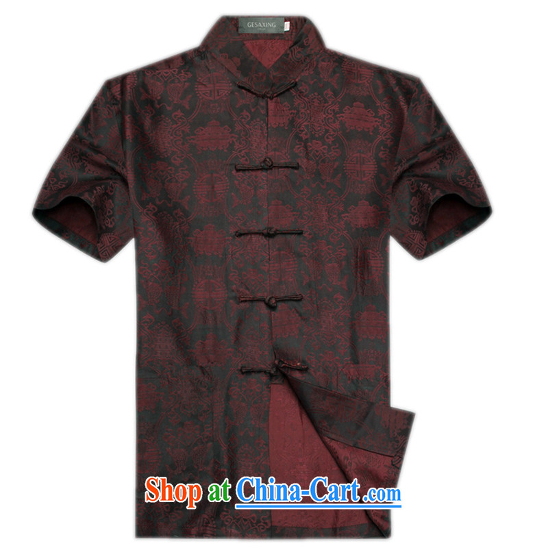 2015 summer silk men Chinese men and a short-sleeved, older persons Grandpa summer T-shirt stylish double fish men's Sauna silk, short-sleeved Chinese fragrant cloud yarn dark red XL/180