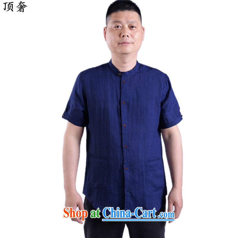 Top Luxury 2015 new Chinese men and a short-sleeved T-shirt short-sleeved lounge_Summer men's short-sleeved linen men and Tang with leisure, older men's shirts blue 190