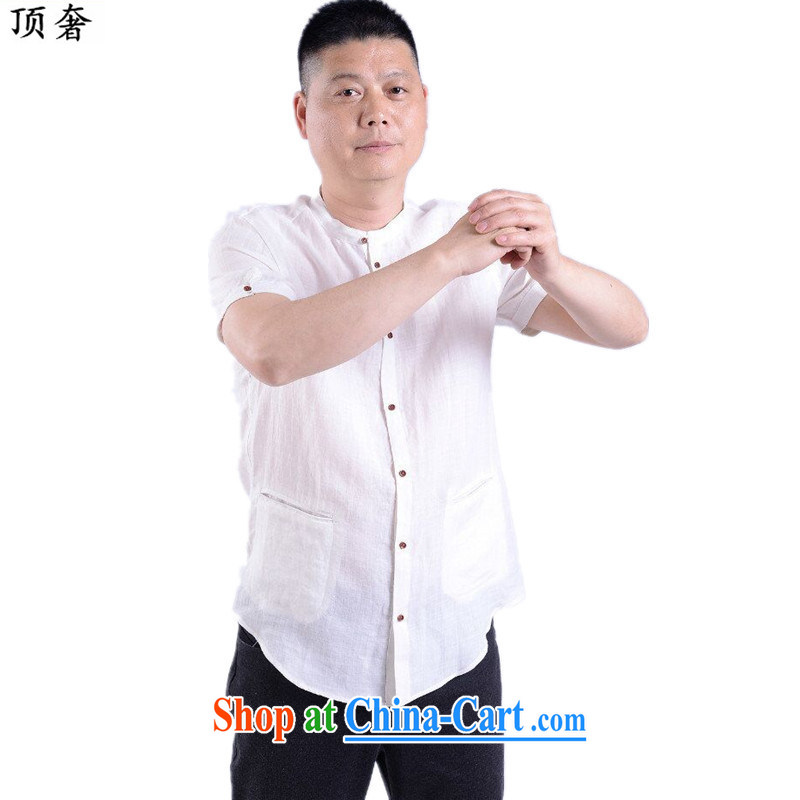 Top Luxury 2015 new middle-aged and older men's summer Chinese clothing men's Chinese short-sleeved T-shirt Chinese casual male elderly clothing shirt white 190