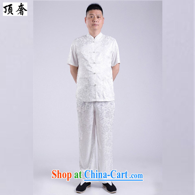 Top Luxury 2015 new, genuine Man Tang package installed China wind short-sleeved older people in men's T-shirt Dad Grandpa pants summer jackets T-shirt white 190