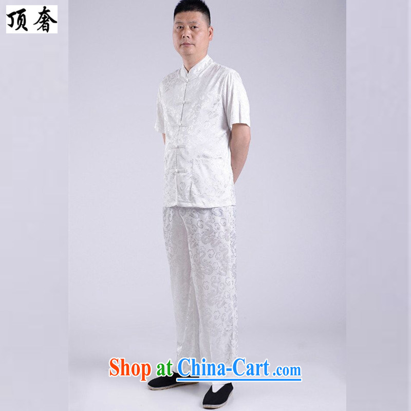 The top luxury 2015 new, genuine Man Tang package installed China wind short-sleeved older persons in male father T-shirt pants grandfather summer jackets T-shirt white 190, top luxury, shopping on the Internet