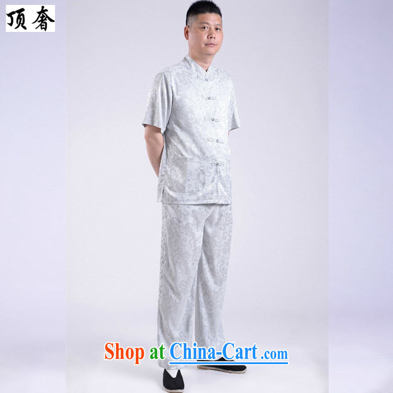 Top Luxury older short-sleeve kit in the summer older people men Tang replace Kit gray father replace Tang replace short-sleeve kit men's summer ethnic wind load short gray 190