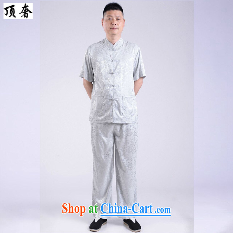 The extravagance, older short-sleeve kit in the summer, older men Tang package with gray father loaded Tang with short-sleeve kit men's summer ethnic wind load short gray 190 with the top luxury, shopping on the Internet