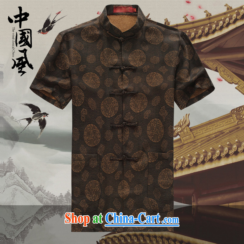 Chinese men and a short-sleeved T-shirt in summer, and Tang with the Shannon cloud yarn is silk, old Tang is short-sleeved father replace D 503 coffee-colored XXXL