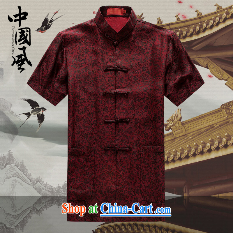 Chinese men and a short-sleeved T-shirt in summer, and Tang with the Shannon cloud yarn is silk, old Tang is short-sleeved father replace D 509 red M