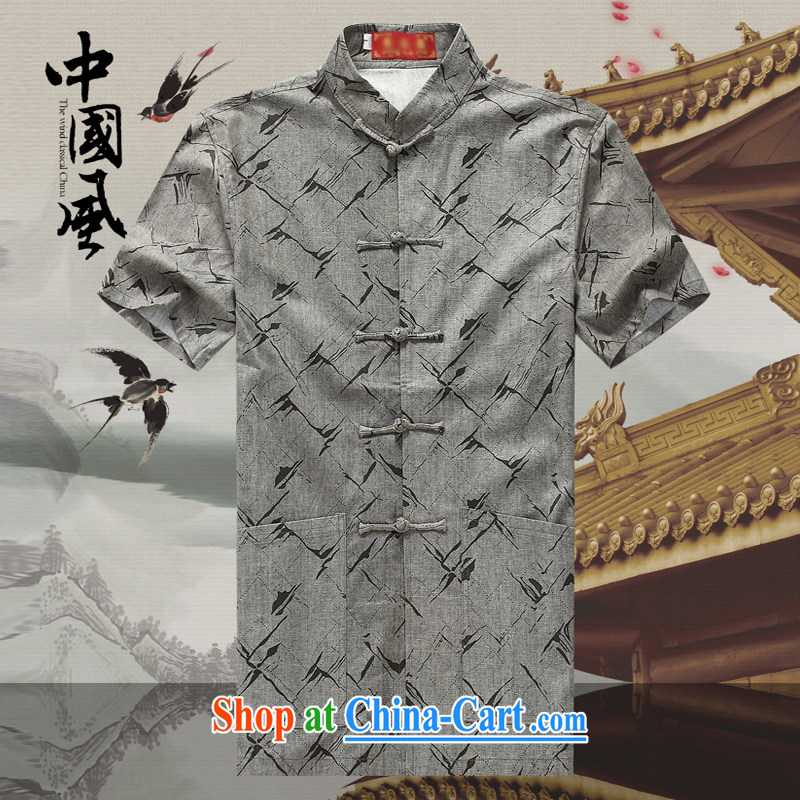Men's short-sleeved Chinese summer 2015 new male Chinese cotton Ma T-shirt with short sleeves shirt China wind in older Chinese D 255 dark gray XXL