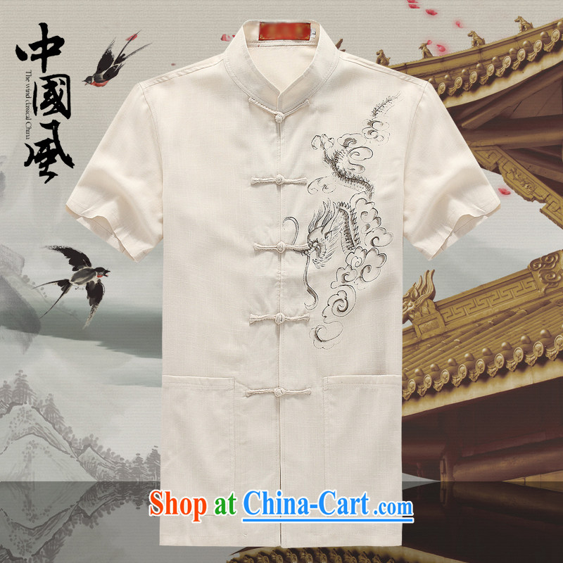 Men's short-sleeved Chinese summer 2015 new male Chinese cotton mA short-sleeved T-shirt China wind, older men and Chinese D 201 white XXXL