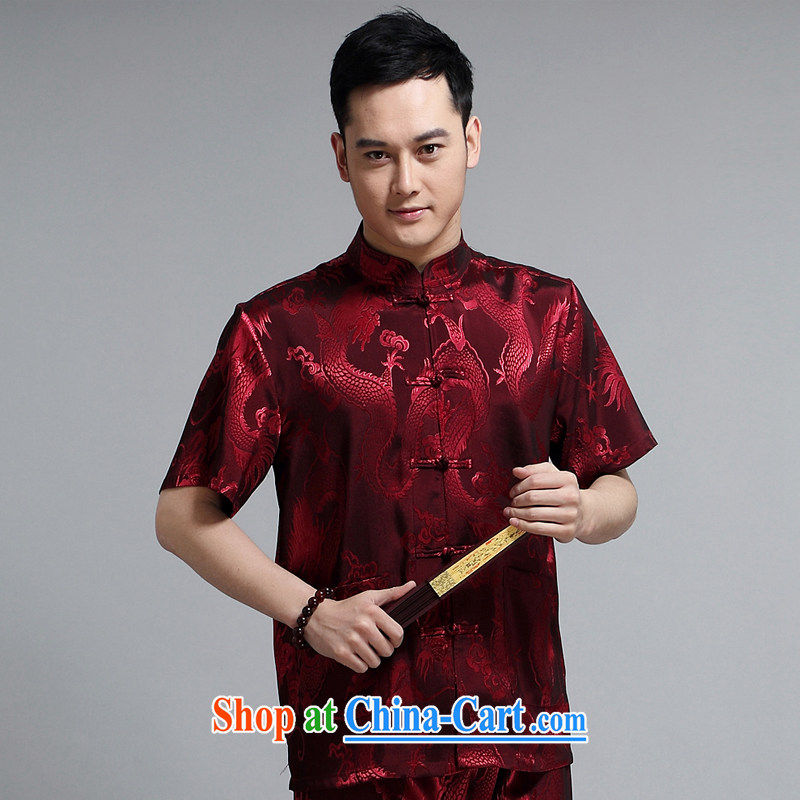 Chinese men and short-sleeve kit AMOI, older men's cotton Ma Man Tang with morning exercises. exercise clothing Tai Chi uniforms father loaded 1505 Red Kit 185