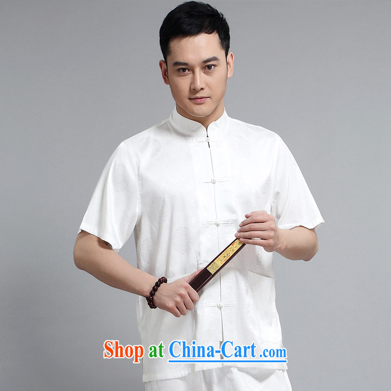 Chinese men and short-sleeve kit AMOI, older men's cotton Ma Man Tang with jogging clothes exercise clothing Tai Chi uniforms with her father 1503 white Kit聽185