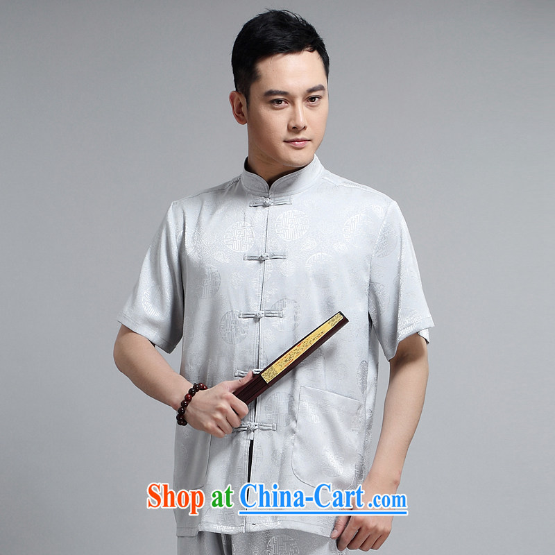 Chinese men and short-sleeve kit AMOI, older men's cotton Ma Man Tang with jogging clothes exercise clothing Tai Chi uniforms father聽1503 Load white package 185, JACK EVIS, shopping on the Internet